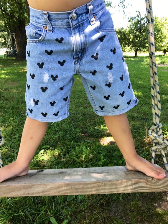 Mickey Mouse Boys Denim Cut Off Shorts Painted Jean Shorts