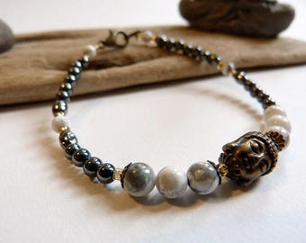 mixed Zen white howlite and hematite bracelet