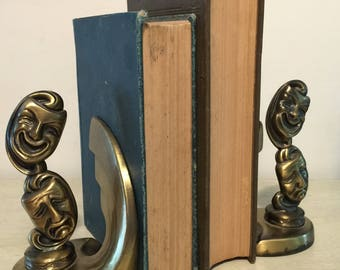 Vintage Bronze Drama Masks Bookends Comedy Tragedy Pair Art Deco 1980s