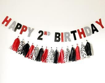 Happy Birthday Banner | Red, black, and polka dot party decor | Mouse party | ladybug party | birthday party decor | birthday party supplies