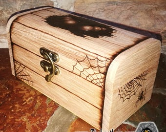 Wooden hand burned Arachnid monster Trinket / Dice Chest Dnd D&D Dungeons and Dragons