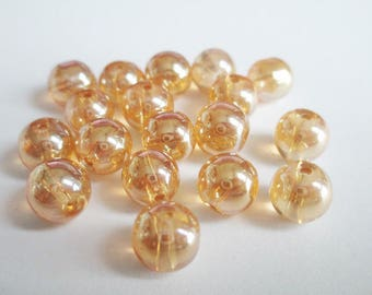 orange light reflections shining glass 8mm 10 beads