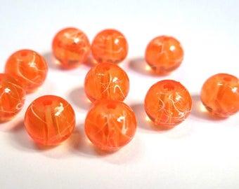 10 orange, white translucent 8mm beads (1)