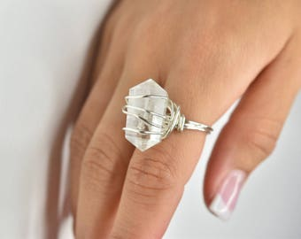 Clear Quartz Double Point Wire Wrapped Ring