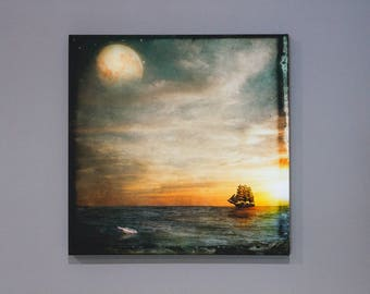 Letter to the Moon Gallery Wrapped Canvas, wall art, ship, sailing, sunset, moon, bottle