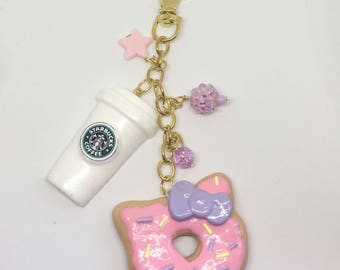 Hello Kitty Donut Purse Charm, Hello Kitty Donut Planner Charm, Cute Planner Charm, car mirror charm, kawaii donut, Starbucks Coffee charm