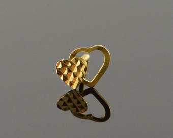 10k Overlapping Heart Cut Out Single Stud Earring Gold