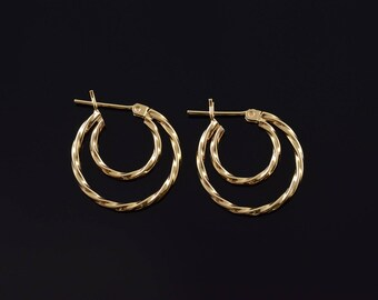 20mm Textured Twist Tiered Hoop Earrings Gold
