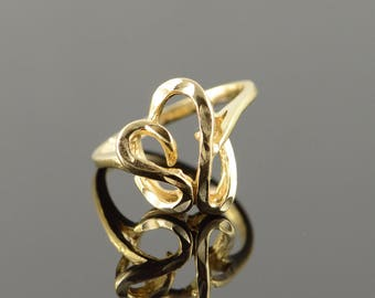 14k Free Form Heart Art Carved Ring Gold