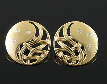 14k 0.10 CTW Diamond Celtic Weave Circle Stud Earrings Gold