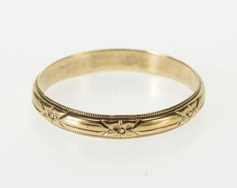 10K Dot Trim Floral Patterned Wedding Band Ring Size 10.25 Yellow Gold
