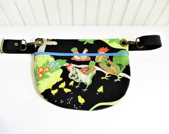 Colorful Chickens on Black Ground Vintage Barkcloth Fabric Hip Bag Fanny Pack Adjustable Strap Gift for Her Christmas