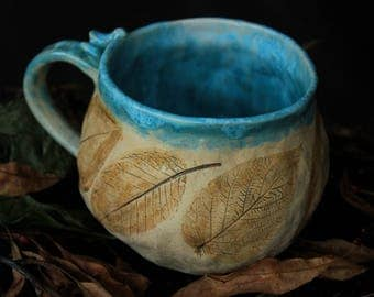 blue ceramic mug plant mug rustic mug blue beige mugs bird mug with leaves ceramics blue hand built mug