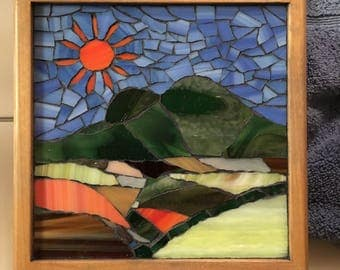 Mosaic Box with Sun and Mountain