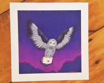 "Owl Post 8"" X 8"" Print"