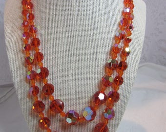 Vintage Orange Faceted Glass Beads with AB Coating Necklace with Rhinestone and GT Clasp