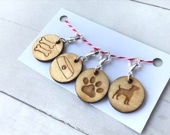 Dogs! Dogs! Dogs! Set of 4 locking stitch markers progress keepers