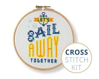 Let's Sail Away Together, Quote needlecraft kit, stitchery kit, friendship cross stitch kit, love cross stitch kit, wedding cross stitch kit