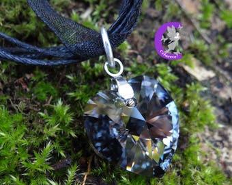 Silver night color swarovski crystal heart pendant