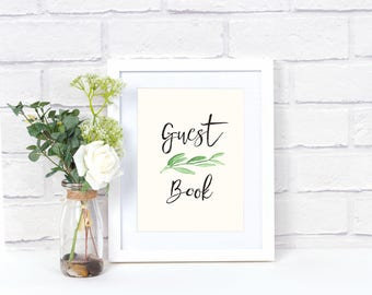 Printable Greenery Guest Book Poster (3 versions)