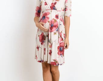 Hello Miz Floral Print Faux Wrap Maternity/Nursing Dress