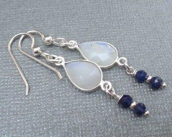 Moonstone Sapphire Earrings/Moonstone Earrings Silver/White Blue Earrings/ Moonstone Dangle Earrings/Genuine Moonstone Sapphire//GE36