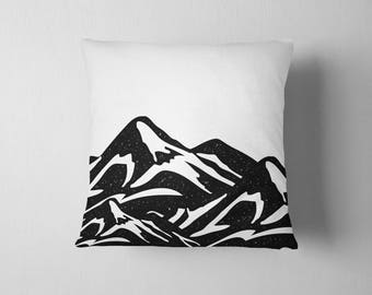 Black and white Mountains throw pillow