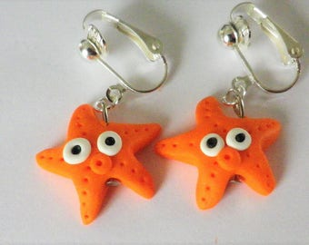 "Earrings clips ""orange Starfish"" handmade designer french sea"