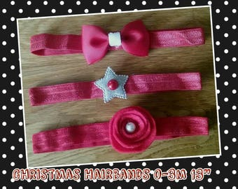 Christmas Hairbands 0-3 months