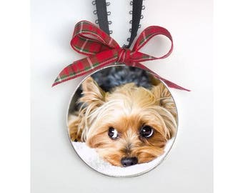 Dog Christmas Ornament - Dog Ornament - Personalized Gift for Dog Lover - Dog Photo ornament -Sterling Silver Plated 2 inches across