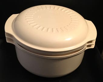 Vintage Tupperware Tupperwave Stack Cooker Microwave Almond Set Of 3 3 Qt 1 3/4 Qt 8 Oz Cover   Healthy Eating Quick Meal