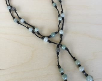 "Aquamarine Gemstone and Seed Bead Lariat Necklace Black Crochet Knotted Cord Aquamarine Drop ""Nightingale"""