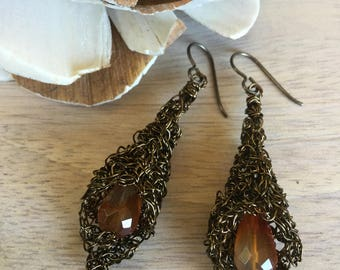 "Bronze Wire Crochet Calla Lily Earrings, Faceted Carnelian Gemstone Drop Center, Niobium Ear Wire ""Lily"""