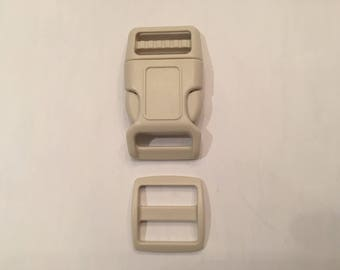 "Beige 1"" Curved Side Release Buckles and Slides"