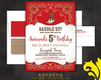 BANDANA . birthday invitation