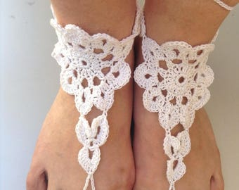 Barefoot sandals, crocheted lace sandals, barefoot sandals in white cotton, barefoot sandals, barefoot