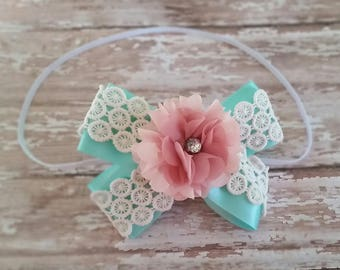 Baby blue headband flower girl headband