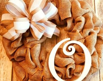 "Burlap Everyday Family Initial Wreath (22"")"