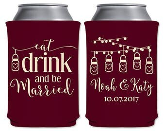 Personalized Can Holders Foam Beverage Insulator Custom Wedding Favors | Eat Drink and Be Married (3A2) Rustic Mason Jars | READ DESCRIPTION