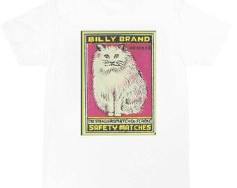 retro Matchbox T-shirt  (White cat)
