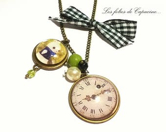 Necklace • horloge• glass Cabochon necklace