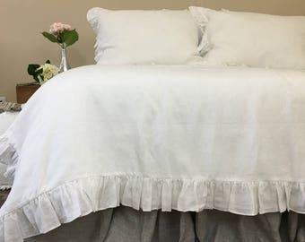 White ruffle duvet cover natural linen, linen bedding, ruffle bedding, shabby chic, available queen linen king linen bedding