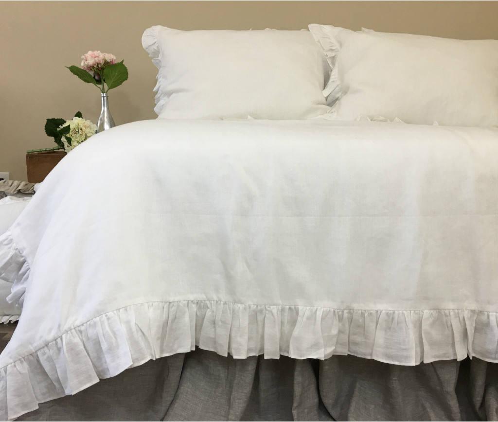 White Ruffle Duvet Cover Natural Linen Linen Bedding Ruffle