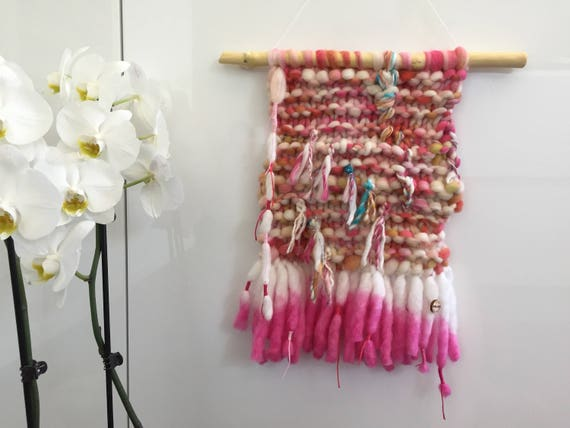 Chuncky knit, hand dyed Merino wool wall hanging in pink and white