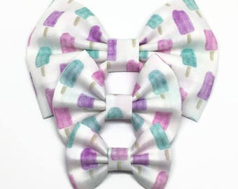 Watercolor Popsicle Bow - Watercolor Bow - Popsicle Hair Bow - Summer Bow - Baby Headband - Summer Headband - Fabric Hair Bow - Pastel Bow