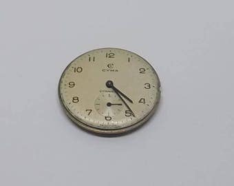 Cyma Cymaflex 17 Jewels R.458 Swiss Made Watch Movement & Dial Circa 1950