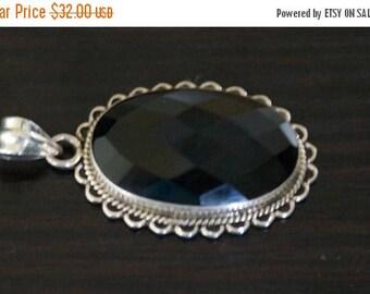 ON SALE Classic BLACK Onyx Silver Pendant