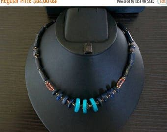 ON SALE Charming TURQUOISE Coral Lapis Lazuli Silver Necklace