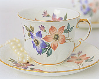 Vintage Aynsley Bone China Cup and Saucer, Flower and Textured Decor, Made in England