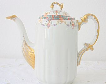 Beautiful Antique Limoges Porcelain Coffeepot , Guirlandes and Bow Pattern, W Guerin & Co, France